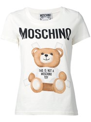 Moschino Paper Doll Toy Bear Print T Shirt Women Cotton 44 White