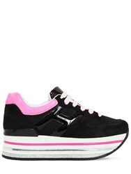 Hogan 70Mm Maxi 222 Leather And Suede Sneakers Black Fuchsia