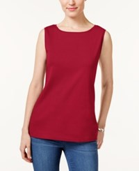 Karen Scott Petite Boat Neck Tank Top Only At Macy's New Red Amore