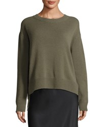 Vince Cashmere Lace Up Pullover Sweater Olivewood