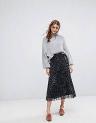 Lily And Lionel Pleated Midi Skirt In Celestial Print Black