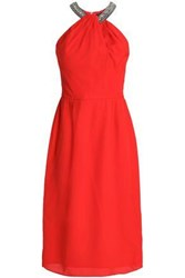 Raoul Georgina Embellished Crepe Dress Red