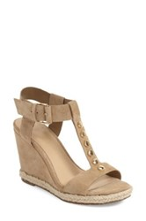 Marc Fisher Kellie Studded Wedge Sandal Beige
