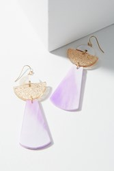 Anthropologie Lucite Space Drop Earrings Purple Motif
