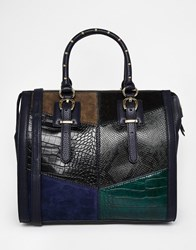 Aldo Structured Tote With Patchwork Detail Bluecombo