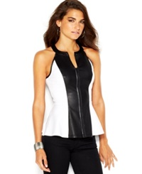 Guess Zip Front Faux Leather Paneled Peplum Halter Top True White Multi