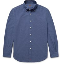 Massimo Piombo Mp Slim Fit Button Down Collar Cotton Blend Chambray Shirt Dark Denim