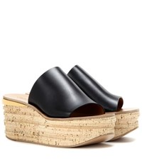 Chloe Leather And Cork Wedges Black