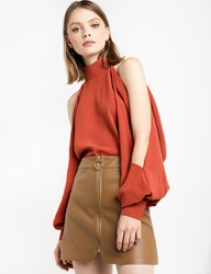 Pixie Market Rust Cold Shoulder Blouse