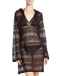Boho Me Hooded Mini Dress Swim Cover Up Black
