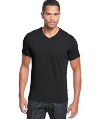 Alfani Red Fitted V Neck T Shirt Black Ice Heather