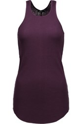 Joseph Ribbed Cotton And Cashmere Blend Tank Grape
