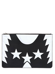 Givenchy Large Stars And Wings Print Leather Clutch