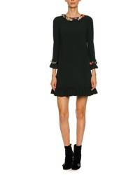 Dolce And Gabbana Button Embellished 3 4 Sleeve Cady Cocktail Dress Black Green