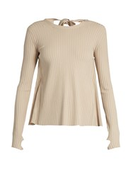 Helmut Lang Open Back Ribbed Knit Sweater Beige