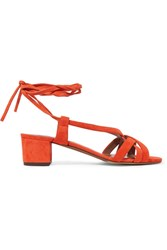 Tabitha Simmons Belen Lace Up Suede Sandals Tomato Red