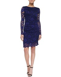 Nicole Miller Long Sleeve Lace Overlay Cocktail Dress Royal Blue