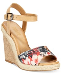 Dolce By Mojo Moxy Posey Espadrille Wedge Sandals Women's Shoes Black Floral Multi