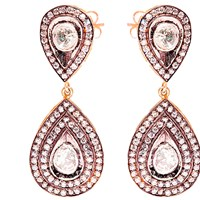 Kastur Jewels Victorian White Sapphire Tear Drop Earrings White Gold Silver
