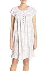 Eileen West Women's Floral Print Cotton Short Nightgown White Floral