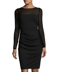Nicole Miller Artelier Combo Mesh Long Sleeve Sheath Dress Black