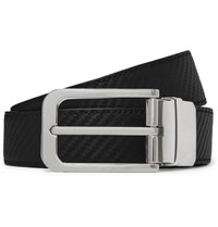 Dunhill 3Cm Black And Brown Reversible Textured Leather Belt Black