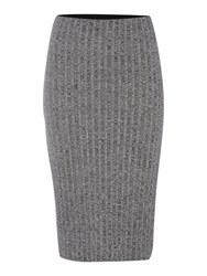Vila Striped Knitted Bodycon Skirt Grey