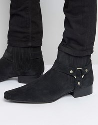 Asos Chelsea Boots In Black Suede With Pointed Toe And Metal Detail Black