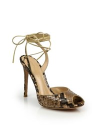 Gianvito Rossi Python Embossed Leather Peep Toe Ankle Wrap Sandals Cookie
