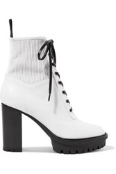 Gianvito Rossi 90 Lace Up Leather Ankle Boots White