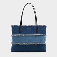 Charles And Keith Oversized Frayed Detail Tote Bag Navy