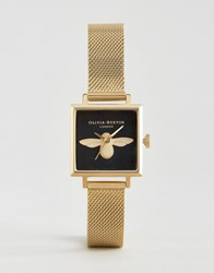 Olivia Burton Moulded Bee Square Dial Watch Gold