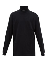 Vetements Collar Embroidered Roll Neck Jersey Top Black