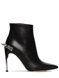 Alexander Mcqueen 105Mm Spiked Leather Ankle Boots Black