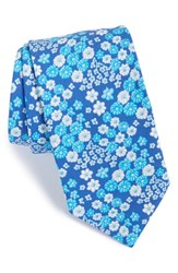 Men's Ted Baker London 'Swimsuit' Floral Cotton Tie Navy