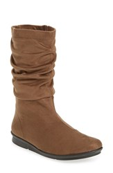 Bussola Women's 'Concord' Ruched Boot Taupe Stretch Suede