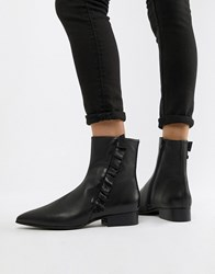 Selected Femme Leather Frill Detail Ankle Boots Black