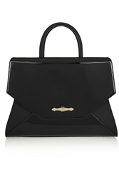 Givenchy Medium Obsedia Bag In Black Matte And Patent Leather
