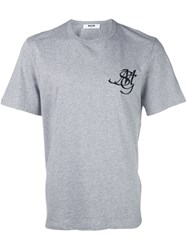 Msgm Logo Embroidery T Shirt Grey