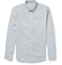 Hardy Amies Slub Cotton Linen And Ramie Blend Shirt Blue