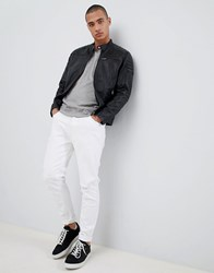 Selected Homme Leather Racer Jacket Black