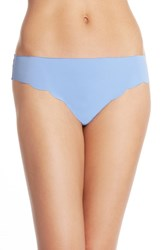 Women's Halogen 'No Show' Scalloped Thong Blue Hydrangea
