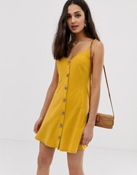 Asos Design Mini Slubby Cami Swing Dress With Faux Wood Buttons Yellow