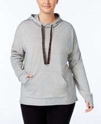 Material Girl Active Plus Size Pullover Hoodie Only At Macy's Heather Platinum