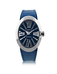 Locman Change Blue Stainless Steel Oval Case Women's Watch W 3 Leather Straps