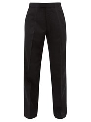 The Row Martin Pleated Wool Blend Wide Leg Trousers Black