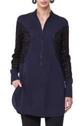 Akris Punto Women's Lace Inset Tunic Navy Black