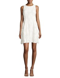 Tahari By Arthur S. Levine Sleeveless Lace Fit And Flare Dress White