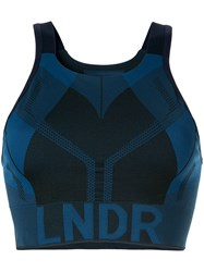 Lndr Logo Print Compression Cropped Top Blue