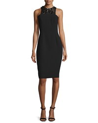 Carmen Marc Valvo Sleeveless Embellished Front Structured Cocktail Dress Size 8 Black